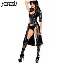 #1531 искусственного кожаный костюм Для женщин пикантные Клубные черный плащ Для женщин Bodycon поддерживающие комбинезоны PU кожаный костюм s Femme плюс Размеры yeqedu 32790877985