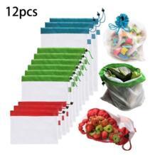 12 упаковок многоразовых продуктов сетки мешки органические сетки хлопка хранения сумки овощи хранения дома кухня сумка для покупок p20 waasoscon 33006833554