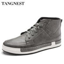 Tangnest/Новинка 2017 г. Осенняя мужская обувь, Мужская модная обувь на плоской подошве из микрофибры, корейский стиль, обувь на шнуровке с высоким берцем для мужчин XMB532 No name 32719464591