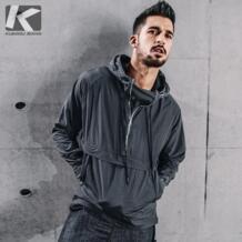новые осенние мужские пуловер Тренч Drak серый цвет пальто с капюшоном костюмы человека тонкий мужской ветровка куртки 72301 KUEGOU 32841315186