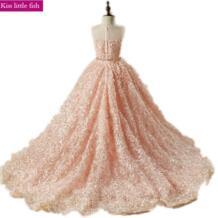 Бесплатная доставка, розовые платья с длинным шлейфом и цветочным узором для девочек, платья для вечеринок и свадеб, пышные платья для девочек Kiss little fish 32867854467