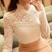 Новинка 2015 года; блузка с рукавами длинными и воротником с оборками; размеры большие ; рубашки с бусинами ; кружевная блузка женская; 59A0 No name 1132764042