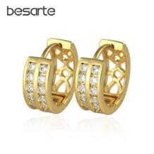 Позолоченные серьги кольца для женщин Bijoux серьги в форме СС Brinco Ouro Золотая Сережка бижутерия Pendientes ювелирные изделия из кристаллов EH1820 No name 1458432605