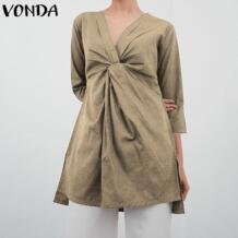 /блузка для беременных женщин 2019 Летняя Сексуальная плиссированная рубашка с v-образным вырезом Свободный Асимметричный топ повседневная Blusas Одежда для беременных плюс размер VONDA 32969223457
