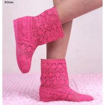 Для женщин вязаные крючком Ботильоны Обувь женские ботинки Туфли без каблуков летние шорты Сапоги и ботинки для девочек плюс размер 35-41 No name 838288399