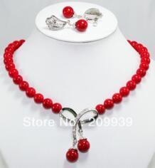 Для женщин jewelry красное ожерелье из бисера серьги набор dingchengchanglong 922886868