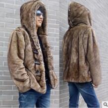 2019 мужские Повседневное пуговица из рога капюшон Меховая куртка с искусственной норки меховая верхняя одежда модные зимние меховые пальто ручной работы Меховая куртка s/5Xl K19 JMprobe 32790811382