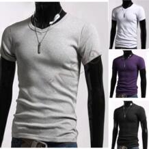 Мужчины стильный свободного покроя с v-образным вырезом короткий рукав приталенный хлопок футболки черный, Белый, Серый, Фиолетовый размеры S / M / L / XL 3324 No name 630422198