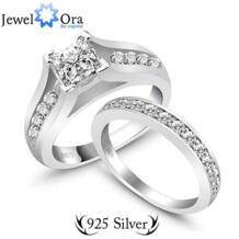 Подлинная стерлингового серебра 925 пробы обручальное его ее обручальное кольцо комплект 2 шт. ( JewelOra Ri100499 ) No name 630113243