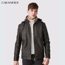 мужские кожаные куртки зимние теплые пальто Плюс Толстая Верхняя одежда Байкер Мотоцикл мужской классический с капюшоном искусственная CARANFIER 32824150360