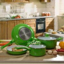 Новое поступление Алюминий сплав Пособия по кулинарии Pots набор посуды кастрюля и пот кастрюля с антипригарным покрытием + вок + Сковорода + кастрюля Лидер продаж KWYJZI210 No name 32860543722