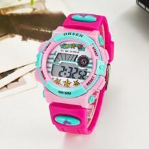 Лидер продаж цифровой Бренд 2016 кварцевые детские наручные часы обувь м для девочек 50 м водостойкий розовый силиконовый ремешок ЖК дисплей подсветкой будильник Ohsen 32615637894