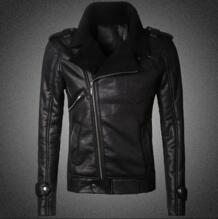 Искусственный мех толстый теплый на осень-зиму Мужская модный бренд новый короткий участок черная кожа куртка мотоцикла Тонкий кожаная куртка No name 32245720485