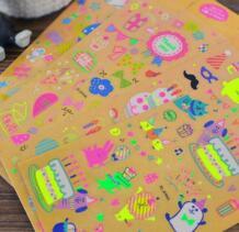 Светятся в темноте Симпатичные люминесцентные партии серии плоским украшения наклейки, дневники, счетов, альбом наклеек YH1029 No name 32831515683