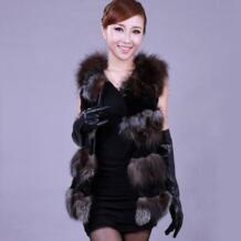 Лисий мех кролика лоскутное женская верхняя одежда без рукавов Natrual лиса Меховой жилет роскошный пальто с мехом Бесплатная доставка t0352 No name 1203040149