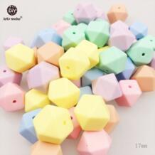 Давайте сделаем Силиконовые Шарики кормящих изделия 50 шт. 17 мм малыш, бисер DIY Цепочки и ожерелья сенсорными Карамельный цвет Восьмиугольные шарики детские Прорезыватель let's make 32802215506