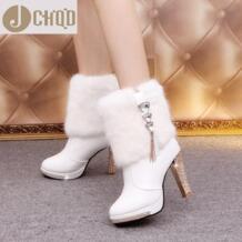 JCHQD шикарные, на высоких каблуках кроличий мех сапоги и ботинки для девочек для женщин Плюшевые Теплая обувь на платформе Элегантный Кристалл Леди Свадебная вечерин wxwswz 32843135646