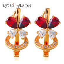 Блестящий Best подарок на день матери ювелирные изделия для женщин золотой тон Красный Кристалл клип серьги je1039 No name 32332069266