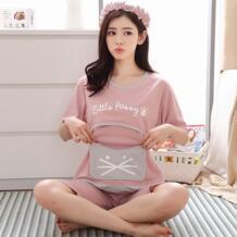 Для беременных Для женщин Новые Летние милый мультфильм короткий рукав верх + шорты хлопковый костюм для беременных Для женщин комплекты M-XXL CEDUOWAHS 32857871992