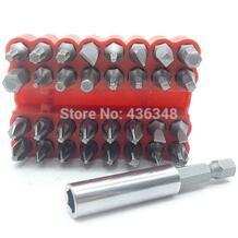 33 шт. безопасности Набор бит вскрытия отвертка бит инструмент держатель Torx Star Hex 60 мм шестигранный хвостовик магнитный держатель CR-V Hex бит наконечник набор Powertoolbit 32412980904