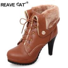 REAVE CAT/мягкие Искусственная кожа Теплые женские ботильоны на осень/зиму высокая обувь на тонком каблуке женские боты feminino mujer с круглым носком No name 1906991806
