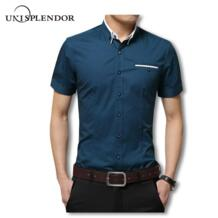 2019 летние мужские Короткие повседневные мужские рубашки однотонные рубашки Новая мода 100% хлопок мужские рубашки джентльмен стиль YN10067 unisplendor 32810000332