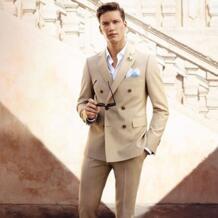 Темно-шампанского мужские костюмы двубортный мужской строгий костюм на заказ Блейзер Vestidos мужские повседневные рабочие костюмы 2019 (куртка + брюки) TPSAADE 32807153226