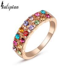 Italina Rigant кольцо с натуральным австрийским кристаллом Stellux с покрытием из розового золота 18К, не теряет цвет #RG95126 iutopian 733909282