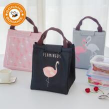 Фламинго тоут термальная сумка черный водонепроницаемый Оксфорд пляжный Ланч мешок еда пикника тепловой мешок для женщин малыш мужчины кулер сумка новый BONAMIE 32836350904