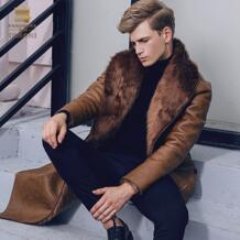 Бесплатная доставка Новинка 2017 модное мужское облегающее теплое пальто зимнее меховое уплотненное бархатное пальто из искусственной кожи 710129 FANZHUAN 32836325415