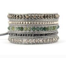 Изысканные Смешанные природные камни Кристаллы 5 Слоистых кожаных обертывания браслеты античный плетеный браслет Прямая поставка богемные ювелирные изделия KOYSKO 32610674581
