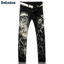 Мужская мода скелет череп печатных обтягивающие мужские джинсы подходят черные джинсовые брюки длинные брюки SOKOTOO 32533849521