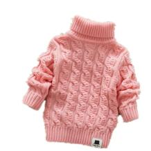 Однотонные свитера для мальчиков и девочек с воротником-хомутом и бородой, мягкие теплые детские свитера на осень и зиму Nine Minow 32849954703