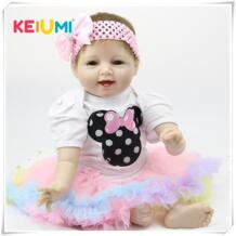 Кукла ручной работы Reborn Baby Doll 22-дюйма 55 см мягкий силиконовый Детский Девочка улыбающийся новорожденный Куклы Дети День рождения Рождественский подарок KEIUMI 32416176833