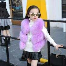 Ywstt/детский меховой жилет, пальто с искусственным лисьим мехом, новинка 2017 года, зимний модный теплый жилет для девочек No name 32746303264