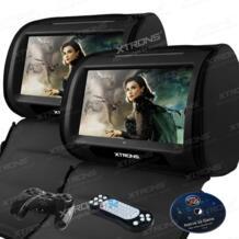 """Черный 2X9 """"HD стильный подголовник Сенсорный экран автомобиля dvd-плеер Автокресло Подушка монитор DVD USD SD FM ИК-молнии стерео аудио No name 1571997248"""