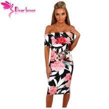 Dear Lover/летние платья с открытыми плечами голубое и Белое Облегающее Платье миди с цветочным принтом в горошек Vestidos Estampado, 5 цветов LC61536 dear-lover 2042249426
