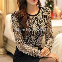 Новая мода 2019 плюс размер длинный рукав женская блузка Топ черный и белый элегантный кружевной шифон женская рубашка 65A5 SURE XIAO STORY 1943411490
