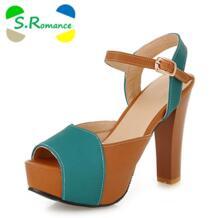 S. Romance/Большие размеры 35-43, женские сандалии, новые модные офисные туфли-лодочки на высоком квадратном каблуке, женская обувь с пряжкой на ремешке, зеленого и бежевого цвета, SS552 S.Romance 32628505512