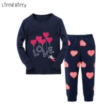Новые пижамные комплекты для маленьких девочек, детские пижамы с длинными рукавами и надписью «Love Heart Emboridery», детские пижамы для детей 2-8 лет, детская одежда для сна Little Bitty 32802975450