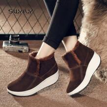 /женские зимние ботинки, зимняя теплая обувь на платформе, новинка 2018, бархатные Нескользящие женские кроссовки, легкая хлопковая обувь SWYIVY 32886653300