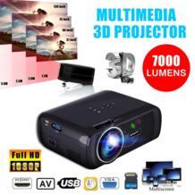 7000LM 1080 P Портативный светодио дный 3D проектор мультимедийный Офис Театр Кино USB HD LEORY 32911143732