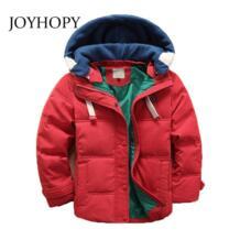 Новая детская зимняя одежда, куртки на утином пуху для мальчиков и девочек, плотное пальто для мальчиков и девочек, Подростковая зимняя верхняя одежда с капюшоном JOYHOPY 32880900688