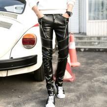 Мужская DJ Swag узкие Искусственная кожа Штаны мужской на молнии PU джоггеры мотоцикл личности шить локомотив брюки A71003 No name 32894838756