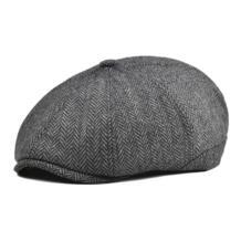 для женщин и мужчин твидовая Шерстяная кепка газетчика елочка 8 панель страна для мальчика плоский Плющ Кепка серый черный шапки-береты Boina 111 VOBOOM 32876395854