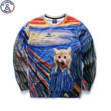 Mr.1991 Демисезонный Большой Детский свитер для девочек ручная роспись Котенок 3D печатных толстовки для бега Спортивная одежда для мальчиков-подростков w32 No name 32664912194