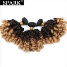 Ombre бразильский волос Weave Связки Надувной вьющиеся 100% человеческих волос 12-26 inch 3bundles 1B/4/27 Волосы remy расширения Spark 32848513249