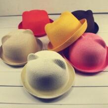 Модная популярная Летняя шляпка шапочка, детская дышащая соломенная шляпа, однотонные шляпы для девочек, кепки, летние топы унисекс feitong 32879582058