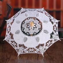 Женский свадебный зонтик с вышивкой, однотонный белый цвет, романтический реквизит для фото с деревянной ручкой, 8 ребер THINKTHENDO 32949142269