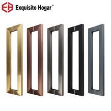 Пользовательские Стекло двери площади ручка светло-розовое золото деревянный Нержавеющаясталь ручка шкафа большая ручка 400 мм EXQUISITO HOGAR 32872277683